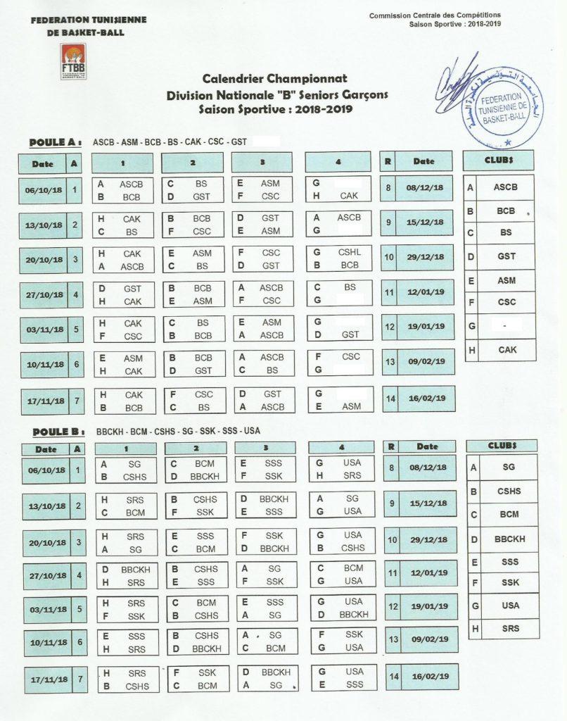 Calendrier Championnat Tunisien.Calendrier Division Nationale B Seniors Garcons Ftbb