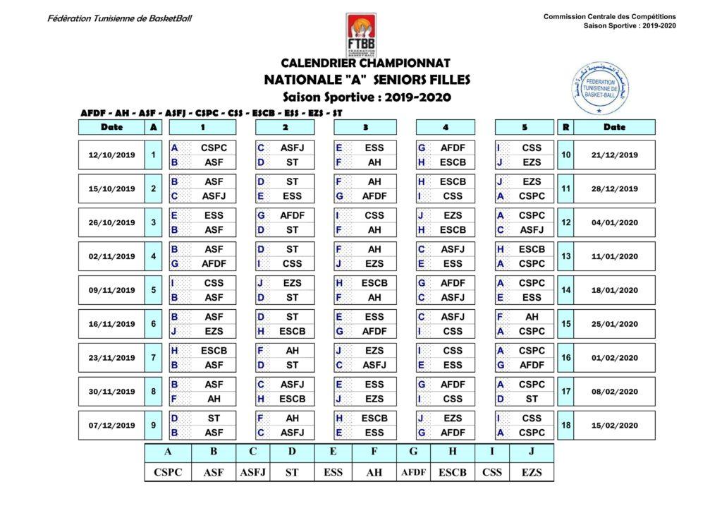 Calendrier Championnat Tunisien.Calendrier Championnat Division Nationale Seniors Filles Ftbb