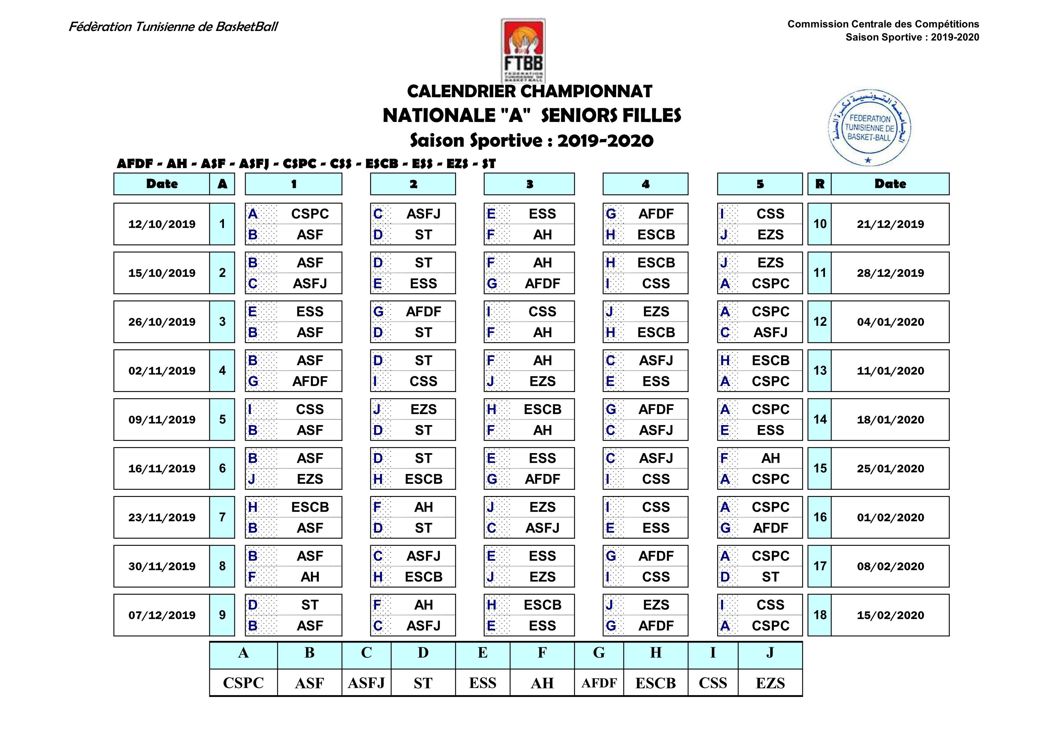 Calendrier National 2020 2019.Calendrier Na Sf 2019 2020 Ftbb